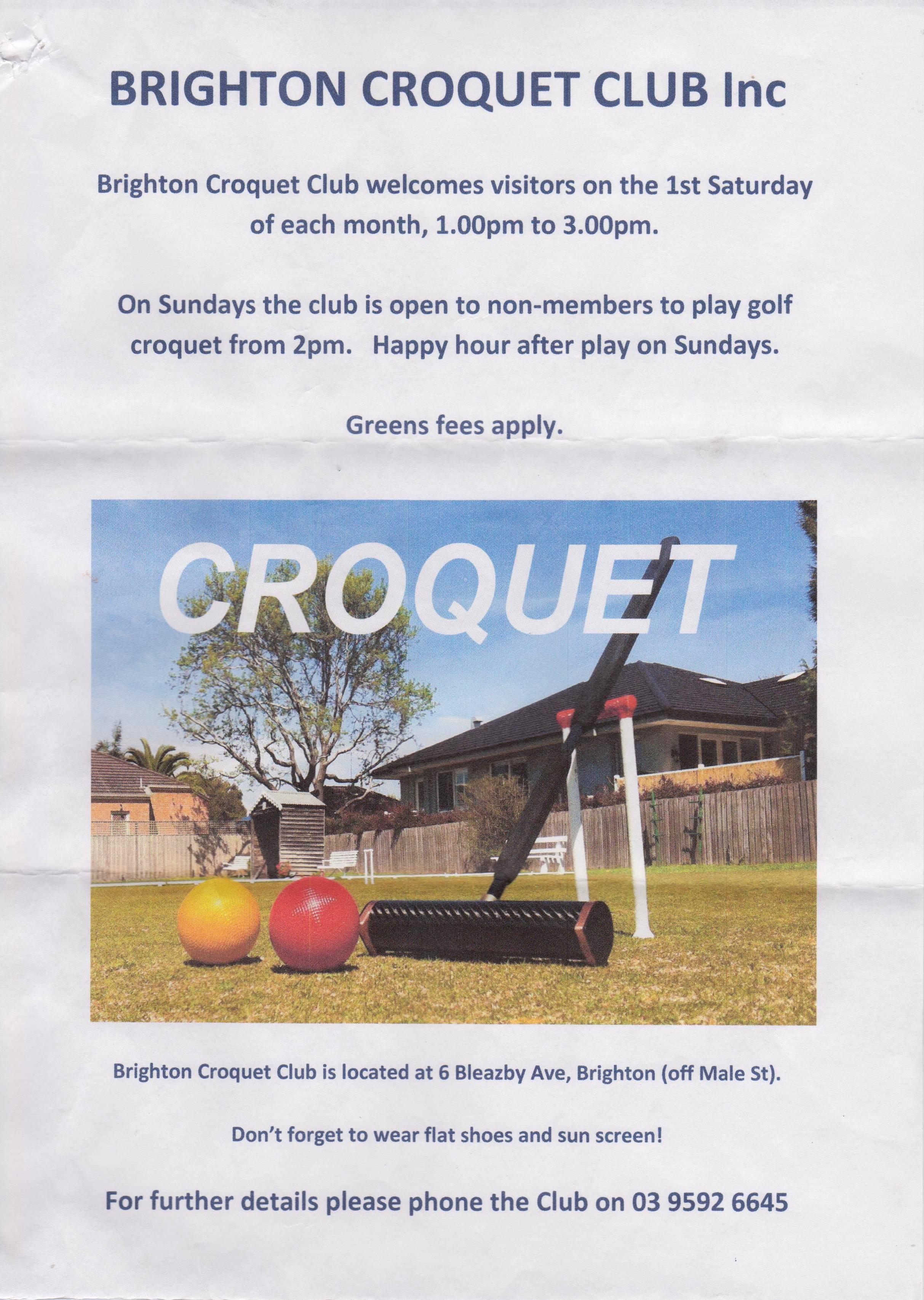 example flyers from clubs in croquet victoria