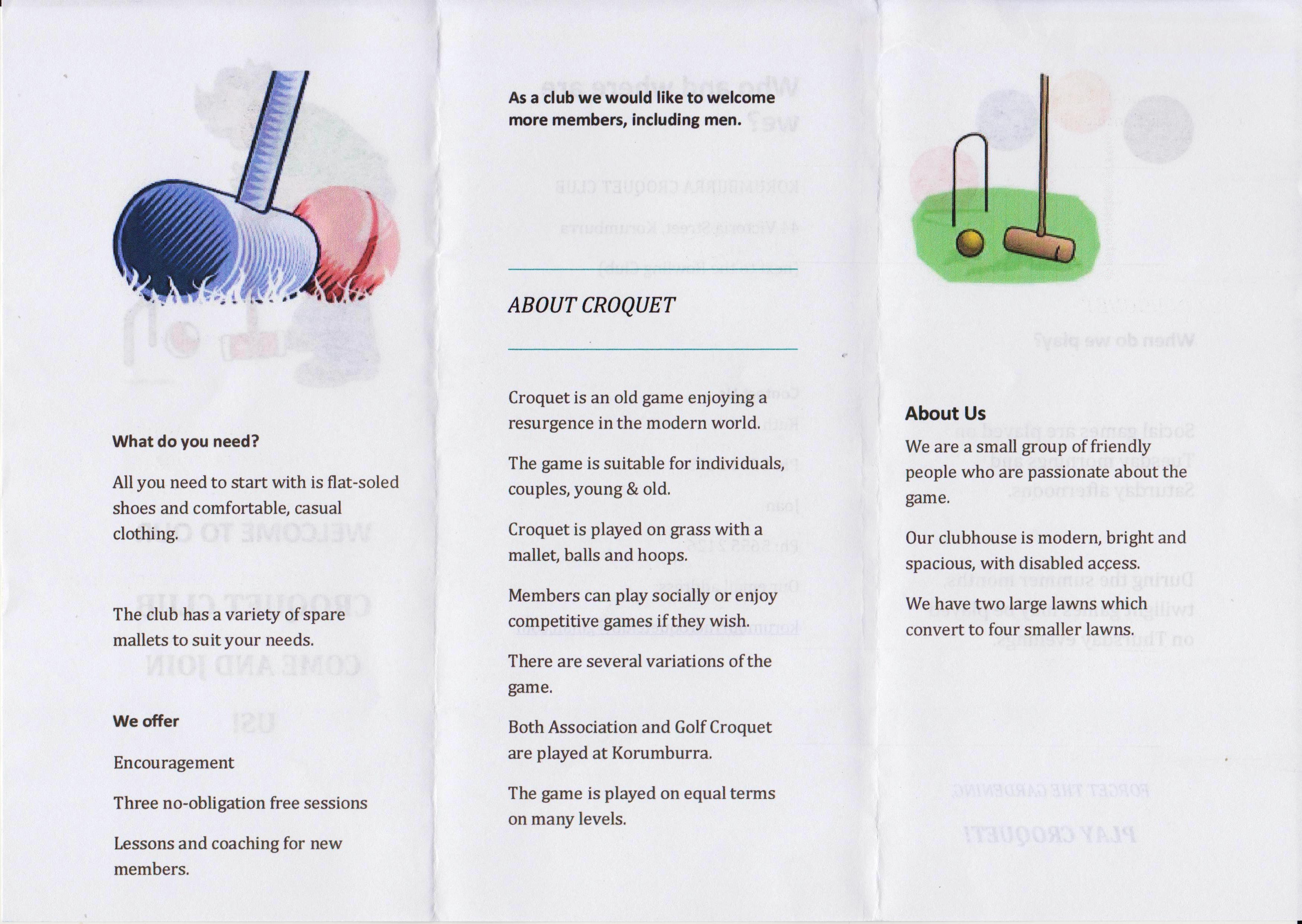 Example flyers from clubs in croquet victoria trifold leaflet inside pooptronica Image collections